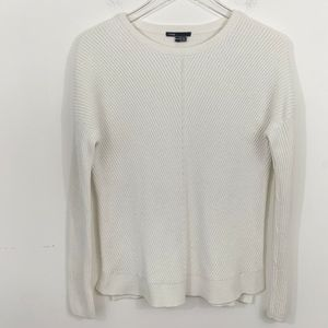 VINCE Crew Neck Ribbed Sweater White Size XL